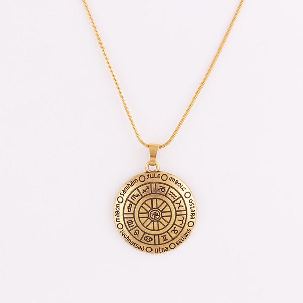 HY064 RUOTA DELL'ANNO Ciondolo in oro tono Bronzo - CROSS QUARTERS Amulet Charm Collana regalo per donna e uomo