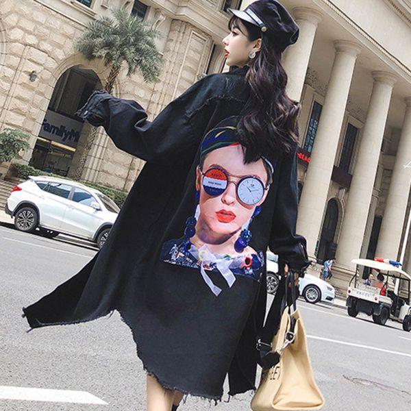 Abrigo 2019 Otoño Suelto Negro Chaqueta larga de mezclilla Mujer Cazadora de gran tamaño Suelto Tallas grandes Volver Dibujos animados Chicas Streetwear Punk
