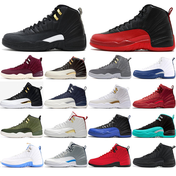 top popular New university blue 12 12s Basketball shoes for mens Winterized BORDEAUX the master FLU GAME men Sports Sneakers size 40-47 2021