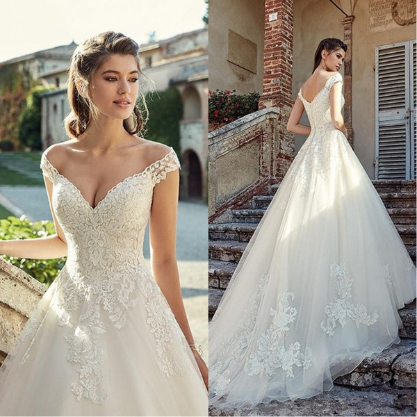 Discount 2020 Stunning Off Shoulder Lace Wedding Dresses Applique