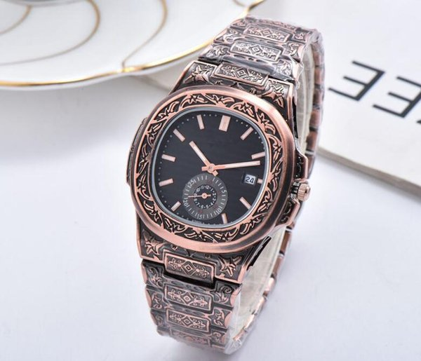 2019 Patek Philippe novo estilo de relógios masculinos movimento tira de aço padrão de relógio relógio marca 39 milímetros de luxo Carving quartzo relojes ouro