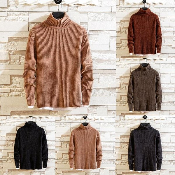 new style for men's sweater in autumn and winter high collar pure color knitted sweater long sleeve multicolor