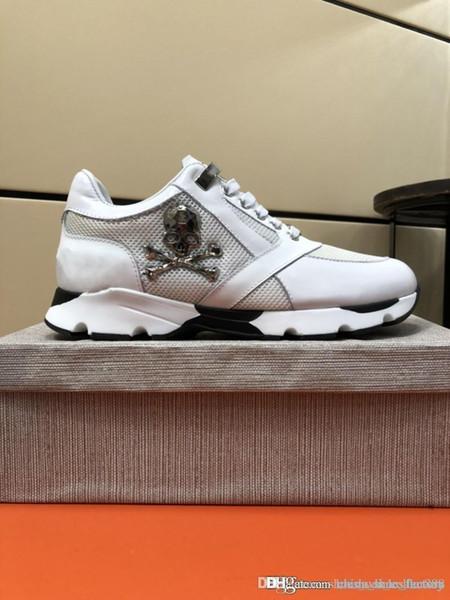 Erkek Deri Sneakers Punk Tarzı Koşucu, PP Rahat Ayakkabılar Ücretsiz zaman için 38-45 İkonik Metal Kafatası ile Dekore