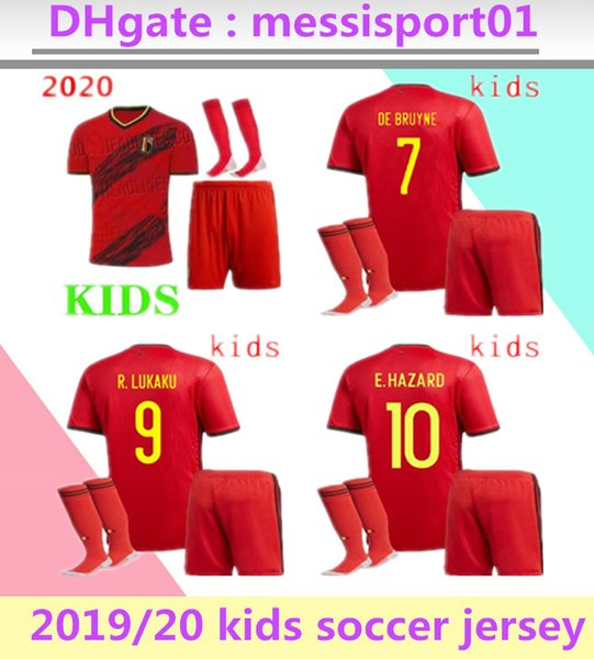 2019 2020 European Cup Belgium soccer jersey national team home KIDS E.HAZARD maillot de foot LUKAKU camisetas DE BRUYNE football kit