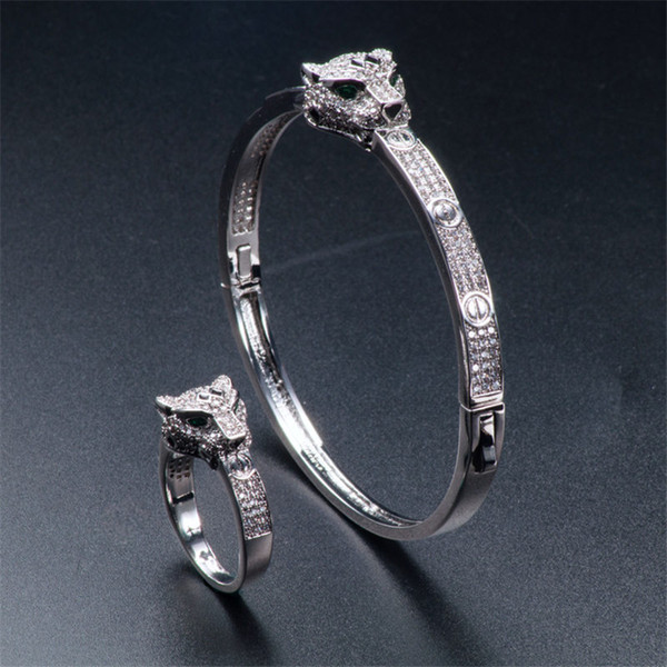 Exquisite Cheetah Rings Bangles Sets Luxury Full Diamond Animals Design Bracelets Rings Fashion Silver Rose Wedding Jewelry Lovers Gifts