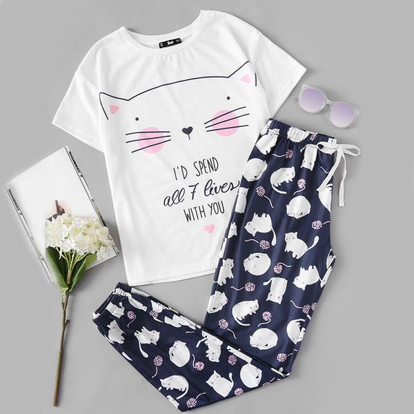 Ensembles de pyjama de femmes mignonnes pour femmes Ensembles de femmes imprimé de chat à manches courtes col rond T-shirt blanc et pantalon bleu pyjama
