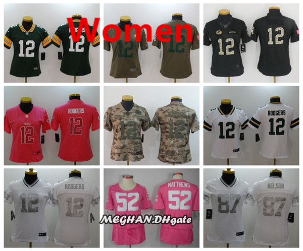 52ad2be68304a Women Green Bay Packers American Football Jersey 12 Aaron Rodgers 52 Clay  Matthews 67 Nelson Color