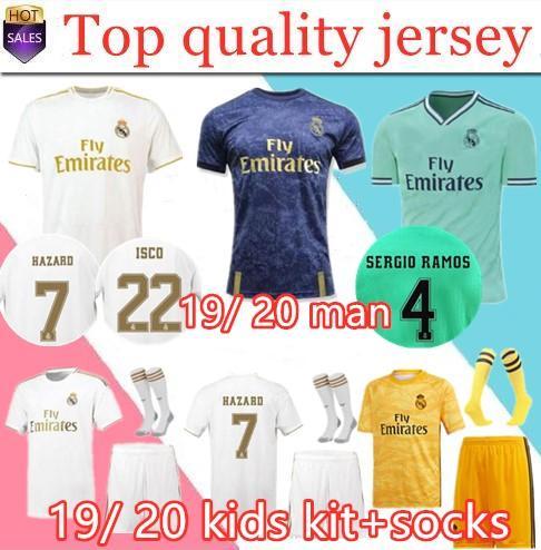 2019 20 maillot de football du Real Madrid HAZARD domicile maillot de football pour adulte ASENSIO ISCO MARCELO madrid 19 20 kit enfants uniformes de football