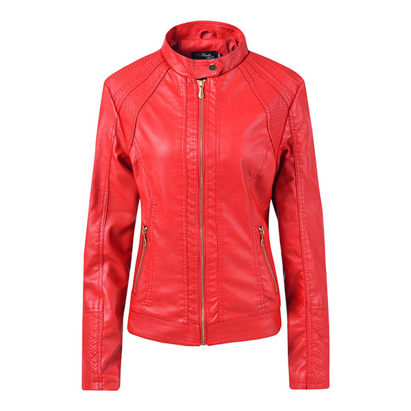 Womens Spring Coats Fashion long Sleeve Zipper Ladies PU Leather jacket Motorcycle jacket Female Short Jackets Overcoat Tops New Fashion