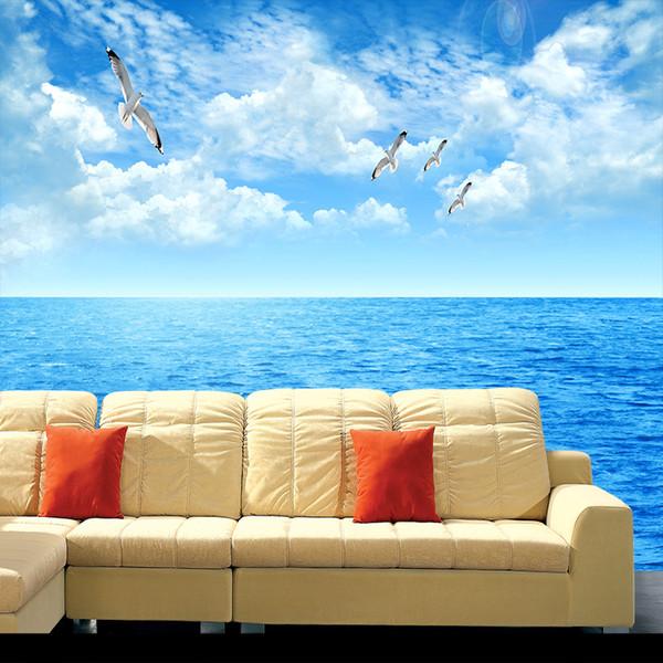 Acheter Nuages Blancs Océan Ciel Bleu Clair Vue Peinture Fond D écran Pour Le Salon Chambre Mur De Fond Tv 3d Non Tissé Grande Peinture Murale