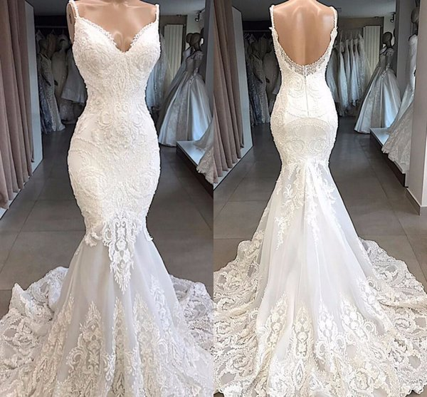 Real Pictures Vintage Spaghetti Lace Appliqued Mermaid Wedding