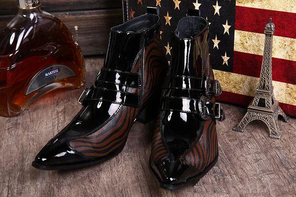 Vento europeu e americano alto com ponto botas curtas aço-toed aumentou couro de sapato masculino han edição maré masculino estilista sapato de couro