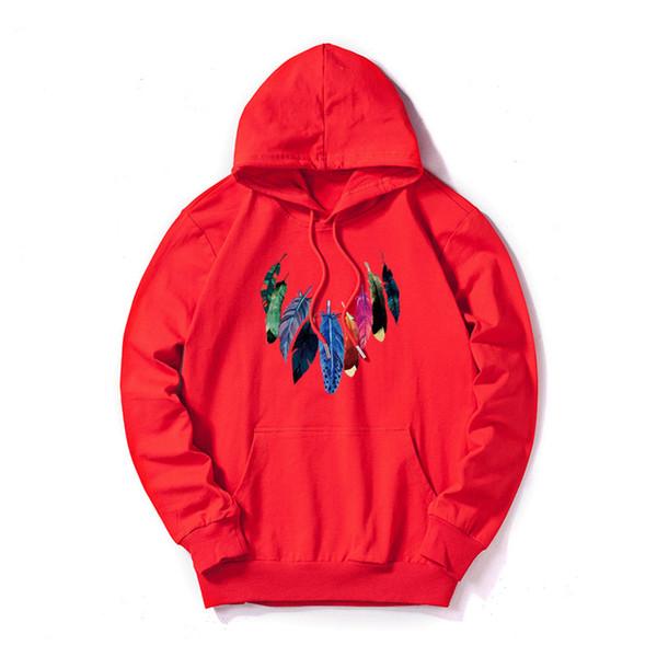 Designer de Hoodies Dos Homens Personalizável Com Capuz de Impressão de Penas Nova Chegada Blusas Casual Pulôver Solto Fino Com Capuz de Algodão Mistura Tamanho M-5XL
