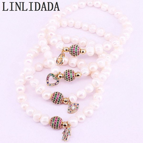 6Pcs Rainbow Zirconia Spacer Connector  with Natural White Pearl Beaded Bracelet For Women Fashion Jewelry