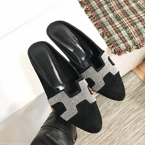 Europ Luxury Slide Summer Fashion Sandali larghi e scivolosi Pantofola Stile intrecciato in pelle Sandali per le donneAcqua trapano deco Infradito Pantofola