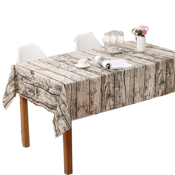 Vintage wood print table cloth Wood Grain Tablecloth Cotton linen Embroidered Rectangle Washable Dinner Picnic Table Cloth 140x250 cm