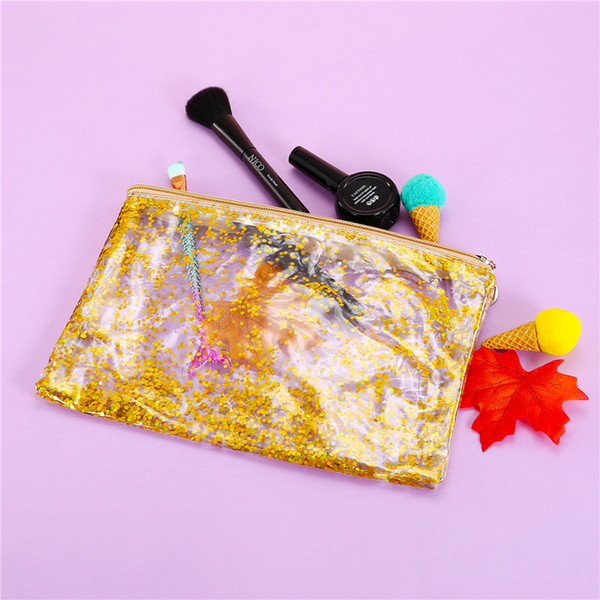 Summer PVC Women Day Clutches Ladies Bag Moved Sequins Clutch Envelope bag For Fashion Girls Transparent Wash Makeup Pouch