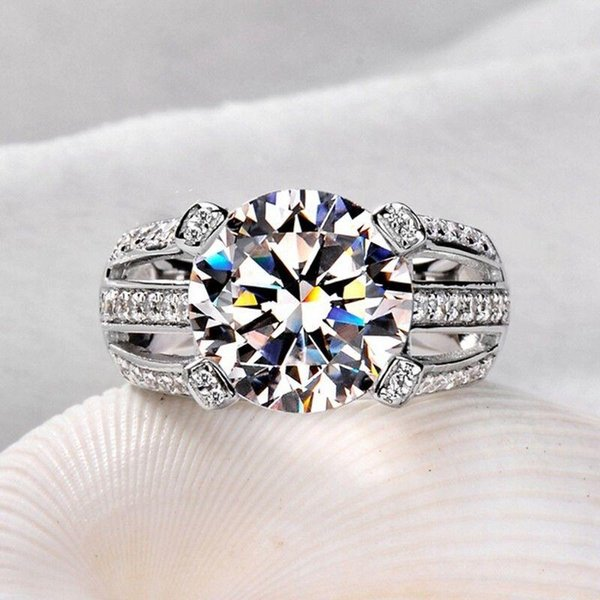 Wholesale Professional Ustore8 Solitaire 925 Sterling silver white sapphire Simulated Diamond CZ Wedding Women Band Ring gift size 5-11