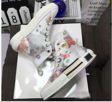 19SS Flowers Canvas Técnico B23 B24 High Top Sneakers em Oblique Mens Marca B23 desenhista calça Mulheres Moda Sneakers