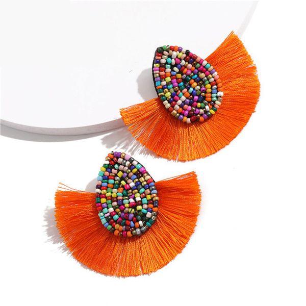 2019 New Handmade Bohemian Beaded Tassel Earring for Women Statement Earrings Female 2019 Wedding Fringe Hanging Earrings Jewelry M074F