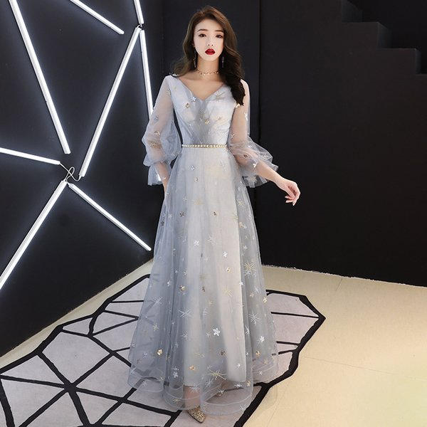 Gray Full Leng V-Neck Chinese Traditional Dress Qipao Bride Cheongsam Dress Vestidos Chinos Oriental Wedding Gowns Party Dresses