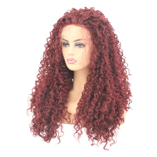 MeiYang Lace Front Glueless Extra Long Burgundy Afro Kinky Curly Wig Hallowmas Cosplay Red Wine Wig Synthetic Curly Cheap Full Wig