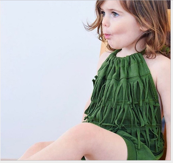 Baby Girls Backless Fringe Rompers Summer 2019 Kids Boutique Clothing Euro America Infant Toddlers Girls Cotton Bandage Rompers