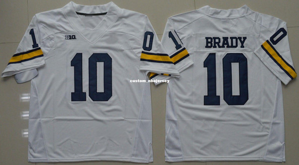 Cheap custom Michigan Wolverines Tom Brady #10 College Football Jersey - White Stitched Customize any number name MEN WOMEN YOUTH XS-5XL