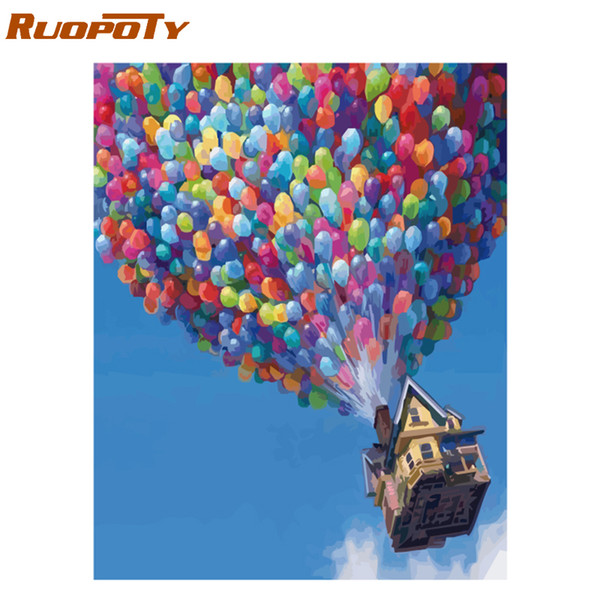 RUOPOTY Frame Balloon DIY Oil Painting By Numbers Kit Landscape Acrylic Paint On Canvas Unique Gift Calligraphy Painting 40x50cm