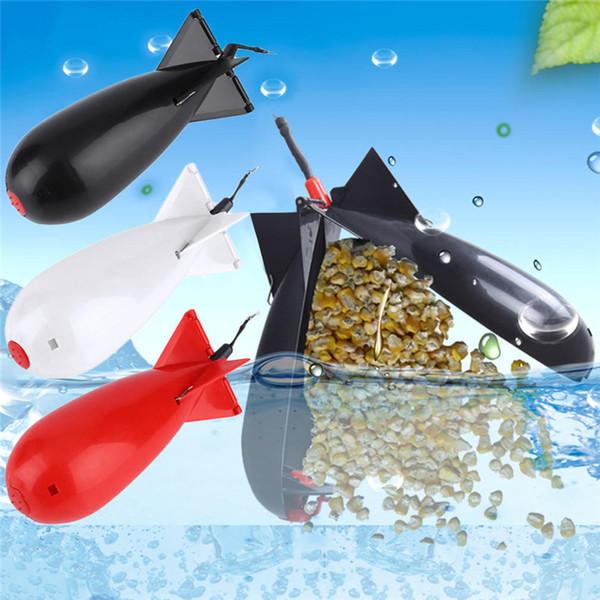 Pesca Cohetes grandes Bomba Spod Alimentadores de aparejos de pesca Pellet Cohete alimentador Float Bait Holder Creador Tackle Tool Accesorios