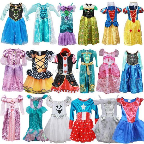 Children princess Cosplay Costume dress Christmas Masquerade Halloween kids Girls clothing cartoon princess baby Dresses 34 styles C6817
