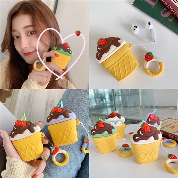 Ins Fashion Cherry Strawberry Ice Cream Airpods Custodia Cover protettiva in silicone Hamburger Patatine fritte Stile Airpods Custodie Custodia per auricolari