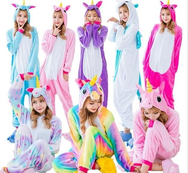 Großhandel RegenbogenUnicorn Pikachu Stich Unisex Flanell Hoodie Pyjamas Kostüm Cosplay Tier Onesies Nachtwäsche Männer Frauen