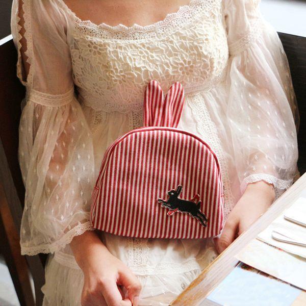 Cute Rabbit Ears Women Handbag Red Striped Women Children Lunch Bag High Quality Canvas Phone Clutches Fashion Brand Females Bag