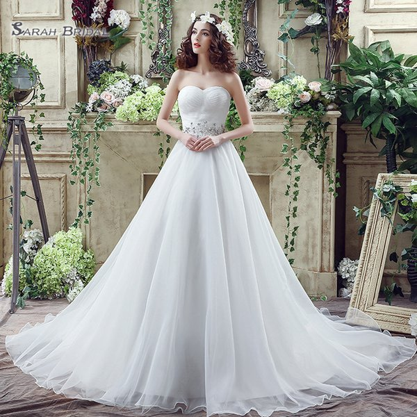 best selling 2019 Elegant Sleeveless A- Line Lace Up and Sweetheart Tulle Sweep Train Sleevless Wedding Dresses Bridal Gowns SQS040