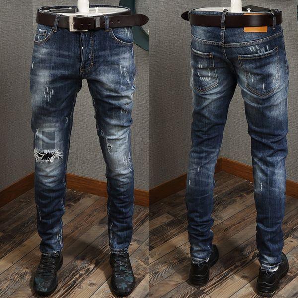 Италия стиль джинсы для человека разорвал мыть отбеливатель желтый патч изношены Slim Fit ноги ковбойские брюки Мужские