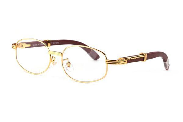 bambus holz sonnenbrille für männer 2019 herren designer runde sonnenbrille randloses fahren buffalo horn brille braune klare linsen brille