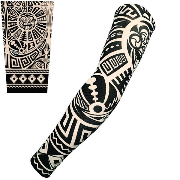 1PC Skin Protective Nylon Stretchy Fake Temporary Tattoo Sleeves Arm Stockings Design Body Cool Men Unisex Fashion Arm Warmer Hot