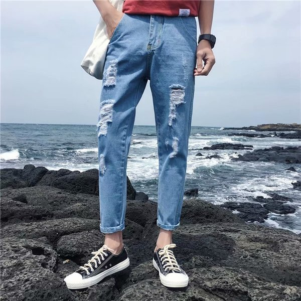 Wholesale 2019 Spring autumn boys teenagers Male Korean feet men's trousers jeans ripped hole loose handsome cow pencil pants