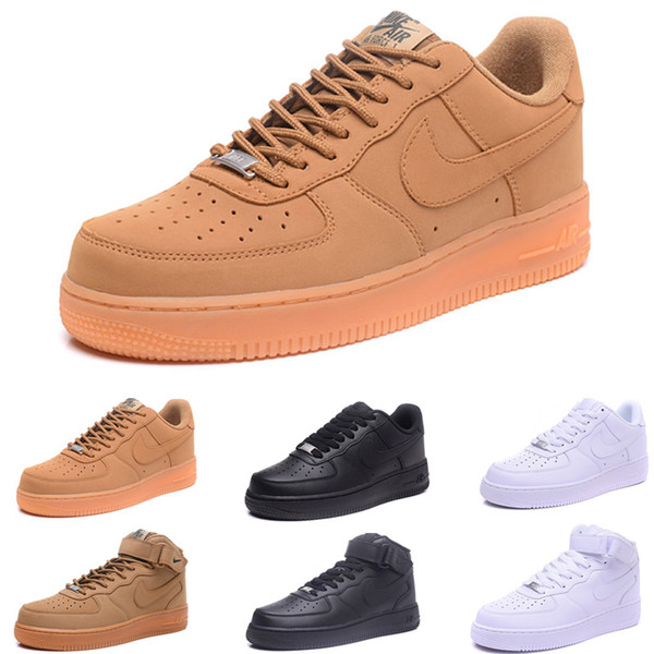 New 2019 Arrival One 1 Dunk Shoes all Black White Men Women Sports Skateboarding Ones High Low Cut Wheat Brown Trainers Sneakers 36-45