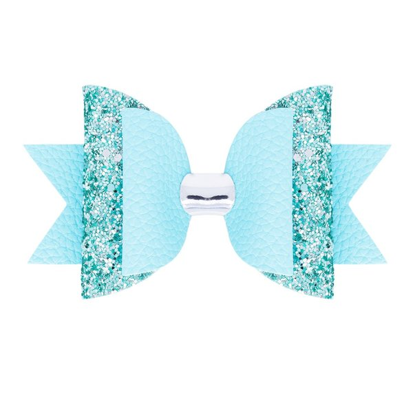 Children two-color hair clips hair bows glitter PU leather hairpins fashion accessories for girls kids barrettes headdress