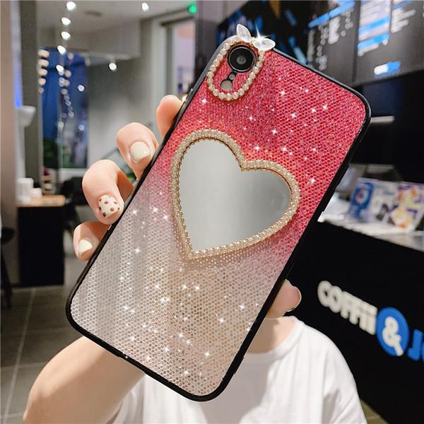 geri aynalı kapak 6 7 8plus XR XSMAX 11 11PROMAX moda Glitter Tasarımcı telefon kılıfı iPhone İçin Tek Parça lüks telefon kılıfı