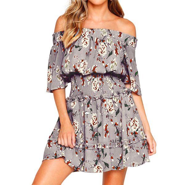 women chiffon dress floral print off shoulder dress shirred high waist frill mini elegant vacation wear 2019 new clothing