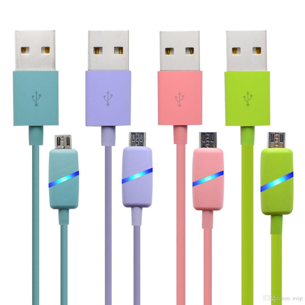 1M LED Data line Data Sync Charger Cable Micro USB Charger Adapter Quick Charge Cell Phone Cables FOR SMART PHONE CABLE WITH PACKAGE