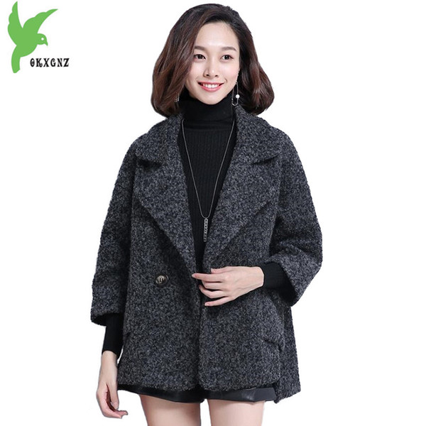 New fashion Wool coat for women 2018 Autumn winter short Cape wool coat female Plus size Thicken high quality jackets 2235