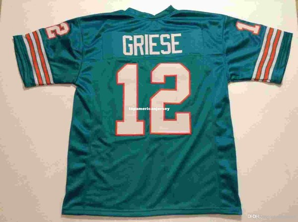 Cheap Retro custom Sewn Stitched #12 Bob Griese Teal MITCHELL & NESS Jersey green Top S-5XL,6XL Men's Football Jerseys Rugby