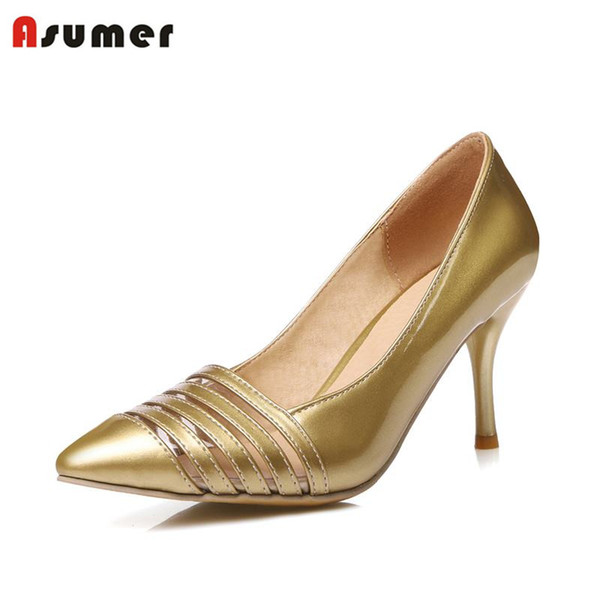 ASUMER SIZE 34-48 NEW hot sale thin heel women pumps pointed toe cut outs simple fashion high heels ladies dress shoes gold