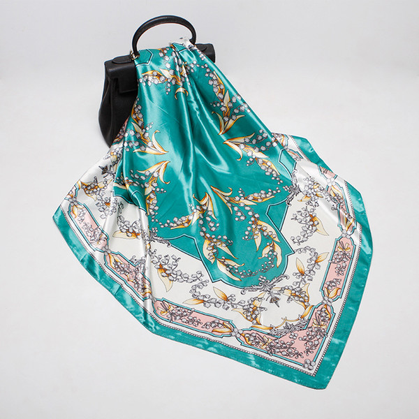 2018 autumn and winter new simulation silk scarf female 90cm iron spirit flowers printing large square women shawl gift