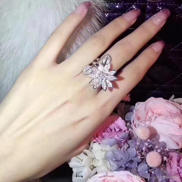 Modischer Ring des reinen Silbers S925 mit Lotosblume und Diamantentwurf für neue reale Art und Weiseeheringe Markenname-Schmucksachen PS5455