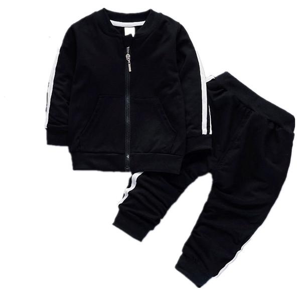 Fashion Spring Autumn Baby Boys Girls Cotton Jacket Pants 2pcs/sets Infant Tracksuit Kids Clothing Suts Children Zipper Clothes
